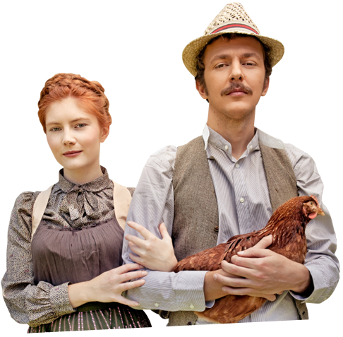 Man and woman with chicken